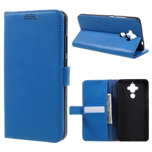 Lychee Grain Wallet Stand Leather Mobile Phone Cover for Huawei Mate 9 - Blue
