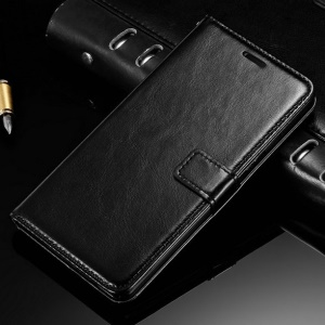 Crazy Horse Wallet Stand Leather Case for Huawei G8 / D199 Maimang 4 - Black
