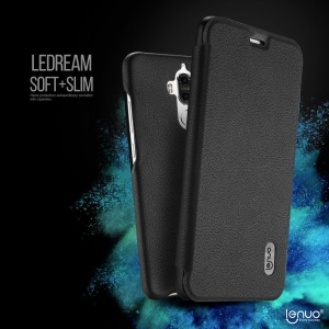 LENUO for Huawei Mate 9 Ledream Slim Flip Leather Case Cover - Black