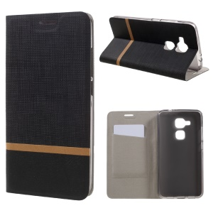 Cross Texture Leather Card Slot Stand Case for Huawei Nova Plus/G9 Plus/Maimang 5 - Black