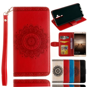Embosssing Mandala Flower Wallet Leather Stand Case with Hand Strap for Huawei Mate 9 - Red