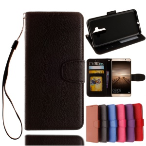 For Huawei Mate 9 Lychee Skin Leather Wallet Case with Strap - Black