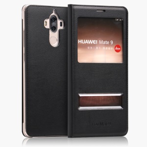 Double Window Leather Protection Case for Huawei Mate 9 - Black