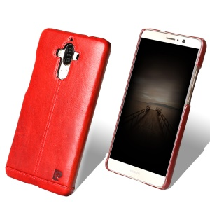 PIERRE CARDIN for Huawei Mate 9 Genuine Leather Coated Hard Cover - Red