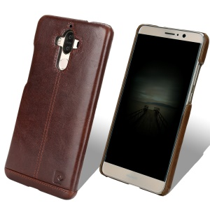 PIERRE CARDIN for Huawei Mate 9 Genuine Leather Coated PC Back Case - Dark Brown