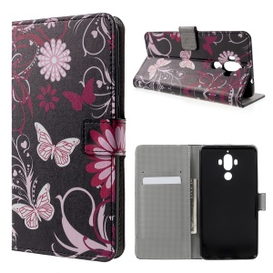 Patterned Leather Wallet Case for Huawei Mate 9 - Butterfly and Flowers