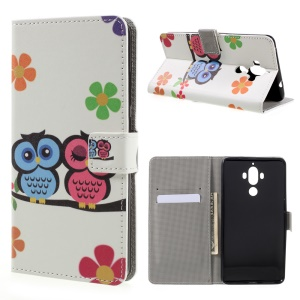Patterned Stand Leather Case for Huawei Mate 9 - Cute Owls and Flower