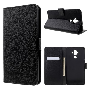 Litchi Texture Wallet Leather Phone Cover for Huawei Mate 9 - Black