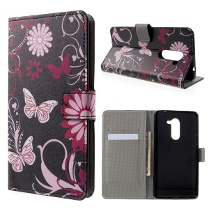 Stand Card Slots Leather Patterned Case for Huawei Honor 6x (2016) - Floral Butterfly