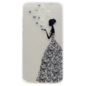 Patterned Soft TPU Phone Back Cover Casing for Huawei Mate 9 - Girl in Butterfly Printing Dress