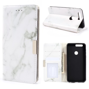 Marble Design Wallet Leather Cover Accessory for Huawei Honor 8 - Grey