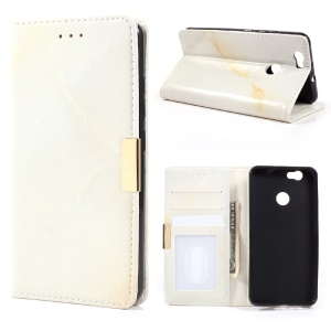Marble Grain Smooth Leather Stand ID/Credit Card Cover for Huawei Nova - Beige
