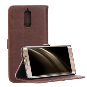 Wallet Stand Leather Cell Phone Shell for Huawei Mate 9 Pro / Porsche Design -  Coffee