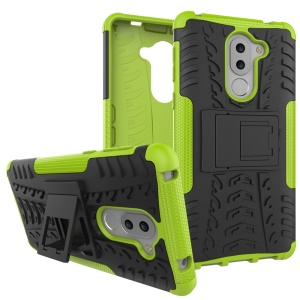 Anti-slip PC + TPU Hybrid Shell with Kickstand for Huawei Honor 6x (2016) - Green
