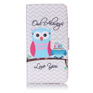 Patterned Mobile Case Leather Wallet Stand Cover for Huawei Honor 5c/GT3/Honor 7 Lite - Owl Always Love You