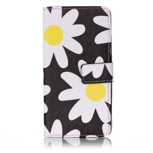Patterned Mobile Accessory Leather Flip Wallet for Huawei Honor 5c/GT3/Honor 7 Lite - White Daisy