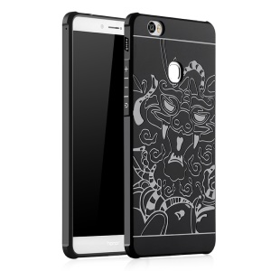 Auspicious Dragon Pattern Drop-proof Imprint TPU Protective Case for Huawei Honor Note 8 - Black