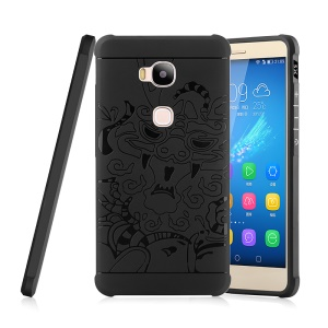 Auspicious Dragon Pattern Drop-proof Imprint TPU Case for Huawei Honor 5X/Honor Play 5X - Black