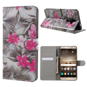 Patterned Wallet Cell Phone Case Flip Leather for Huawei Mate 9 - Red Blooming Flowers