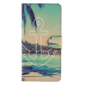 Patterned Wallet Mobile Cover Flip Leather for Huawei Mate 9 - Anchor Seaside View