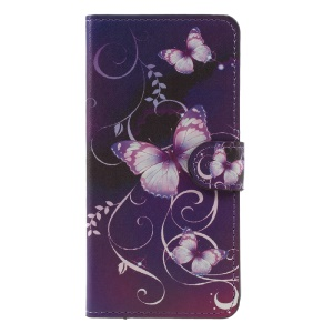 Patterned Wallet Flip Leather Stand Cover for Huawei Mate 9 - Purple Butterflies Vines