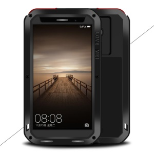 LOVE MEI Powerful Case for Huawei Mate 9 Shockproof Drop-proof Dust-proof (Metal + Silicone + Tempered Glass) - Black
