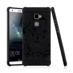 Imprinted Chinese Dragon Drop-proof Mobile Case TPU for Huawei Mate S - Black