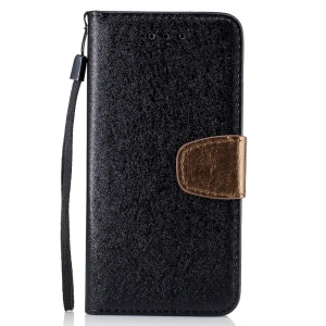 Silk Texture Bi-color Leather Wallet Case for Huawei Honor 7 / 7 Premium - Black