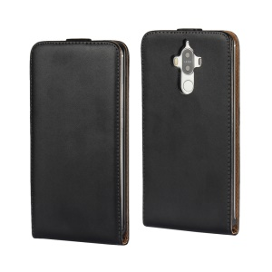 For Huawei Mate 9 Vertical Flip Split Genuine Leather Phone Case Cover - Black