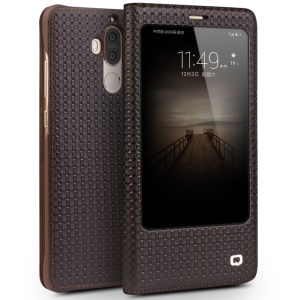 QIALINO for Huawei Mate 9 Grid Texture Genuine Cowhide Leather Smart View Window Case Business Cover - Brown
