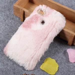 Colorized Rabbit Fur Diamante TPU Cell Phone Case for Huawei P9 Lite / G9 Lite - Pink