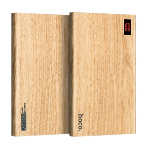 HOCO B17B 20000mAh 2.1A Wood Grain Dual-USB Power Bank Charger for iPhone iPad Samsung - Walnut