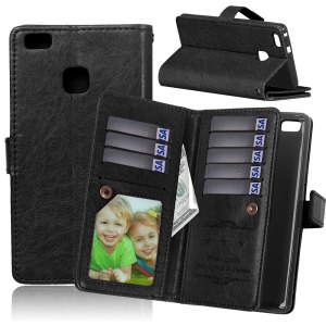 9 Card Slots Wallet Crazy Horse Leather Housse mobile pour Huawei P9 Lite / G9 Lite - Noir