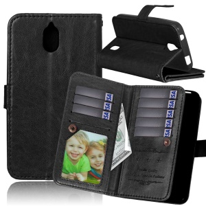For Huawei Y625 Multiple 9 Card Slots Crazy Horse Leather Wallet Case - Black