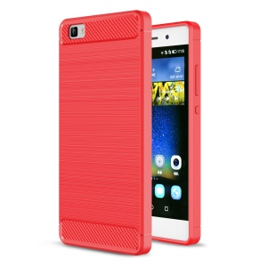 Carbon Fibre Brushed TPU Case Accessory for Huawei P8 Lite - Red