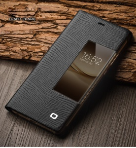 QIALINO for Huawei P9 Business Smart View Window Lizard Texture Cowhide Leather Phone Case - Black