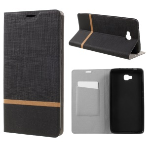 Contrast Color Cross Texture Leather Case for Huawei Ascend XT Built-in Steel Sheet - Black