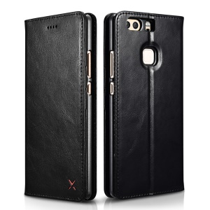 XOOMZ Auto-absorbed Genuine Leather Wallet Stand Cell Phone Case for  Huawei P9 Plus - Black