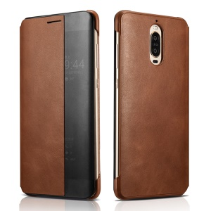 XOOMZ Smart View Window Genuine Leather Cell Phone Case for Huawei Mate 9 Pro / Mate 9 Porsche Design - Brown