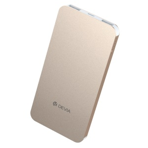 DEVIA Ultra-thin Portable Power Bank 5000mAh External Battery for iPhone iPad Samsung etc. - Champagne Gold