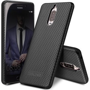 QIALINO Mesh Design Genuine Leather Coated PC Cell Phone Case for Huawei Mate 9 Pro / Mate 9 Porsche Design - Black