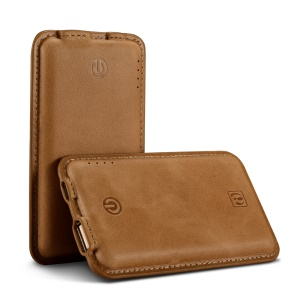 ICARER Genuine Leather Portable Power Bank 4400mAh External Battery for iPhone iPad Samsung - Brown