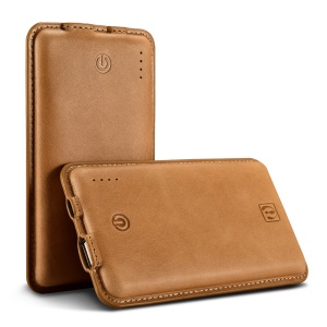 ICARER Genuine Leather Shell Portable Power Bank 8000mAh for iPhone iPad Samsung - Brown