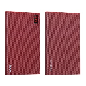 HOCO 20000mAh Checker 2.1A Dual USB External Battery Charger for iPhone Samsung Etc (B17A-20000) - Wine Red