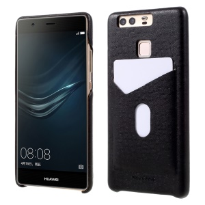 G-CASE Card Holder Phone Casing for Huawei P9 (Ostrich Texture PU Leather + PC) - Black