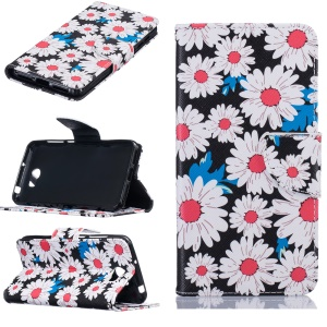 Patterned Leather Wallet Cell Phone Case with Stand for Huawei Y5II / Y5 II / Honor 5 - Daisies