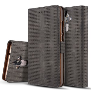 Grid Pattern Retro Leather Wallet Phone Case with Stand for Huawei Mate 9 - Grey