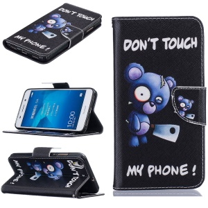 Wallet Leather Stand Case for Huawei Y6 II/Y6II/Honor 5A - Do not Touch My Phone