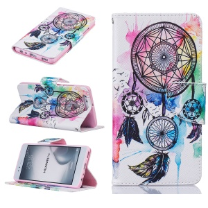 For Huawei P9 Patterned Wallet Stand Leather Case Accessory - Dream Catcher