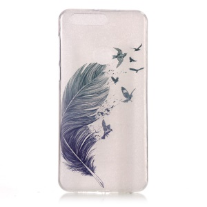 Pattern Printing IMD TPU Shell Case for Huawei Honor 8 - Feather Pattern